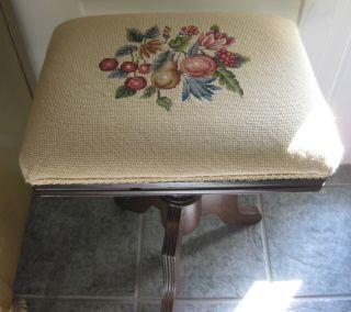Victorian Vanity Piano Organ Stool Bench Needlepoint Petitpoint Fruit Seat Cover photo