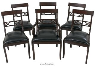 Set Of 6 Antique Dining Chairs American Regency Style Espresso photo