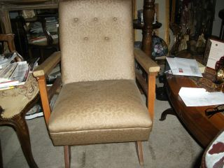 Vintage Antique Home Decor Mid Century Retro Tufted Back Rocking Chair photo