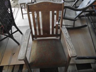 Antique Oak Mission Rocking Chair Vintage Collectible