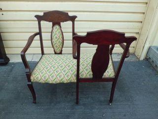 50638 Antique Inlaid Tete A Tete Armchair Chair Rare Find photo