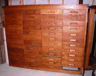 Large Oak 1920s 1930s Nyc Law Firm Legal File Cabinet - 48 Drawers Eh Sheldon Mi photo