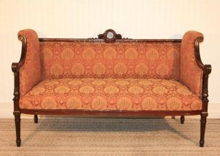 Antique French Empire Mother Of Pearl Inlaid Carved Mahogany Settee Loveseat photo