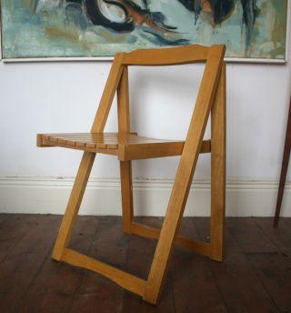 Danish Folding Chair Retro Vintage 60s 70s Beech photo