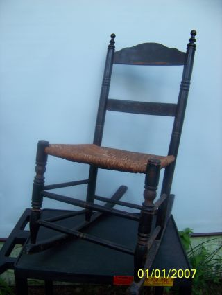 Antique Black Stenciled Sewing Rocker With Rush Bottom - & Sturdy photo