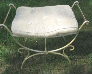 Vintage Shabby ' N Chic French Style Brass + Iron Vanity Bench Foot Stool photo