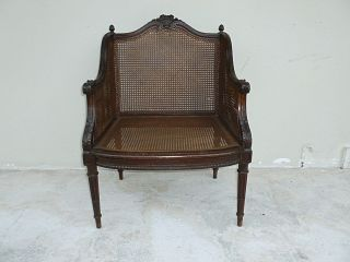 Fine Vintage French Louis 15th Style Boudoir Arm Chair W Caned Seat And  Back Photo