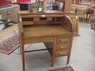 Vintage Oak Roll Top Desk photo