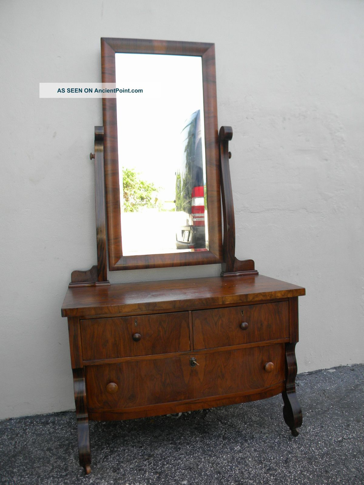 Early 1900 s empire flame walnut vanity desk with mirror 2478 1900