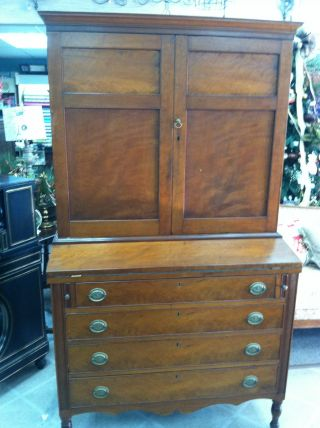 Gorgeous Antique Cherry Pennsylvania Secretary Desk Circa 1820 (walnut Interior) photo