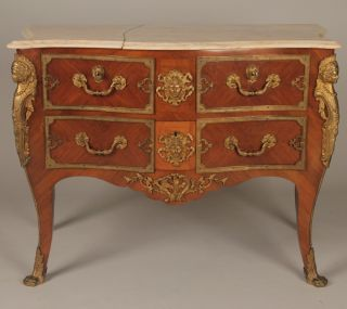 Fine Antique French Louis Xv Marble Top Serpentine Commode Dresser,  C.  1900 - 1910 photo