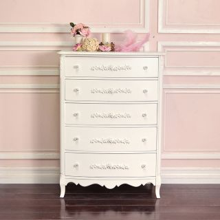 Shabby Cottage Chic 5 Drawer Highboy Dresser White French Vintage Style Roses photo