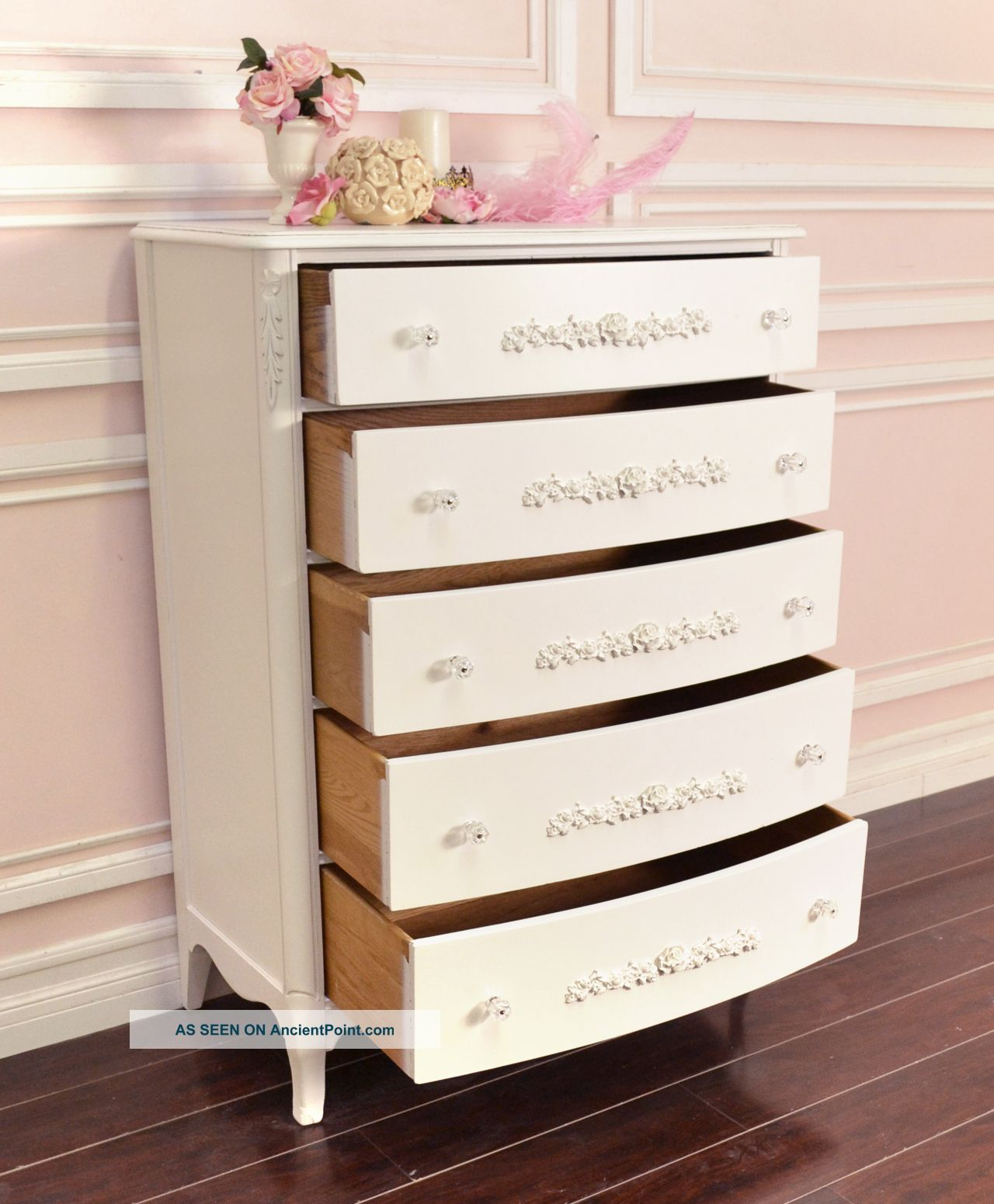 Shabby Cottage Chic 5 Drawer Highboy Dresser White French Vintage Style Roses