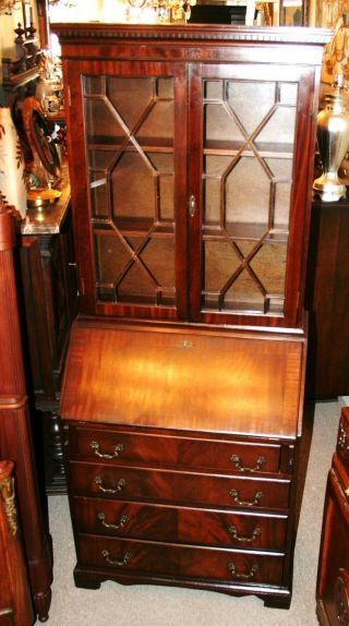 Exquisite English Antique Traditional Mahogany Secretary Drop Front Desk photo