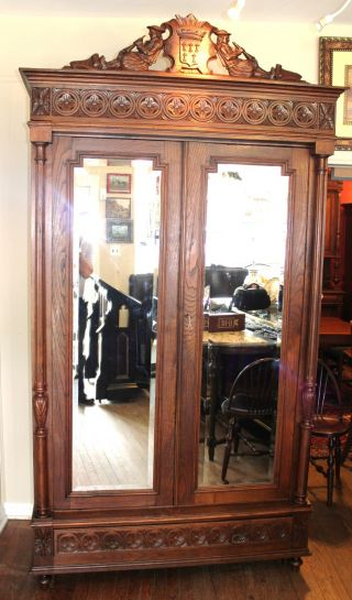 Ordinaire Exquisite French Antique Oak Breton Carved Double Door Armoire Beveled  Mirrors Photo