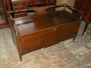 Antique Cavalier Bedroom Cedar Blanket Storage Chest Trunk Window Bench photo