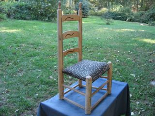Antique Wood Ladder Back Child Doll Chair Old Paint Kids Textile Seat photo