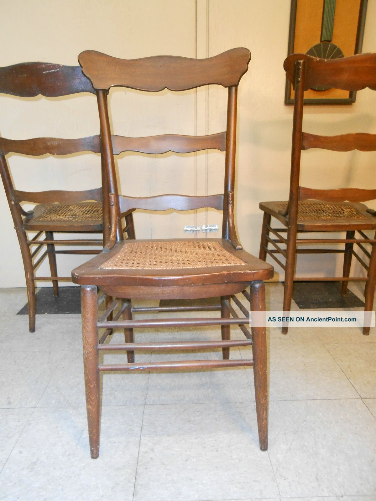 Set Of Four Oak Ladderback Cane Seat Diner Chairs Post 1950 Photo 9. Full resolution  image, nominally Width 1200 Height 1600 pixels, image with #A86923.