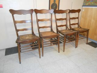 1940 ' S Set Of Four Oak Ladderback Cane Seat Diner Chairs photo