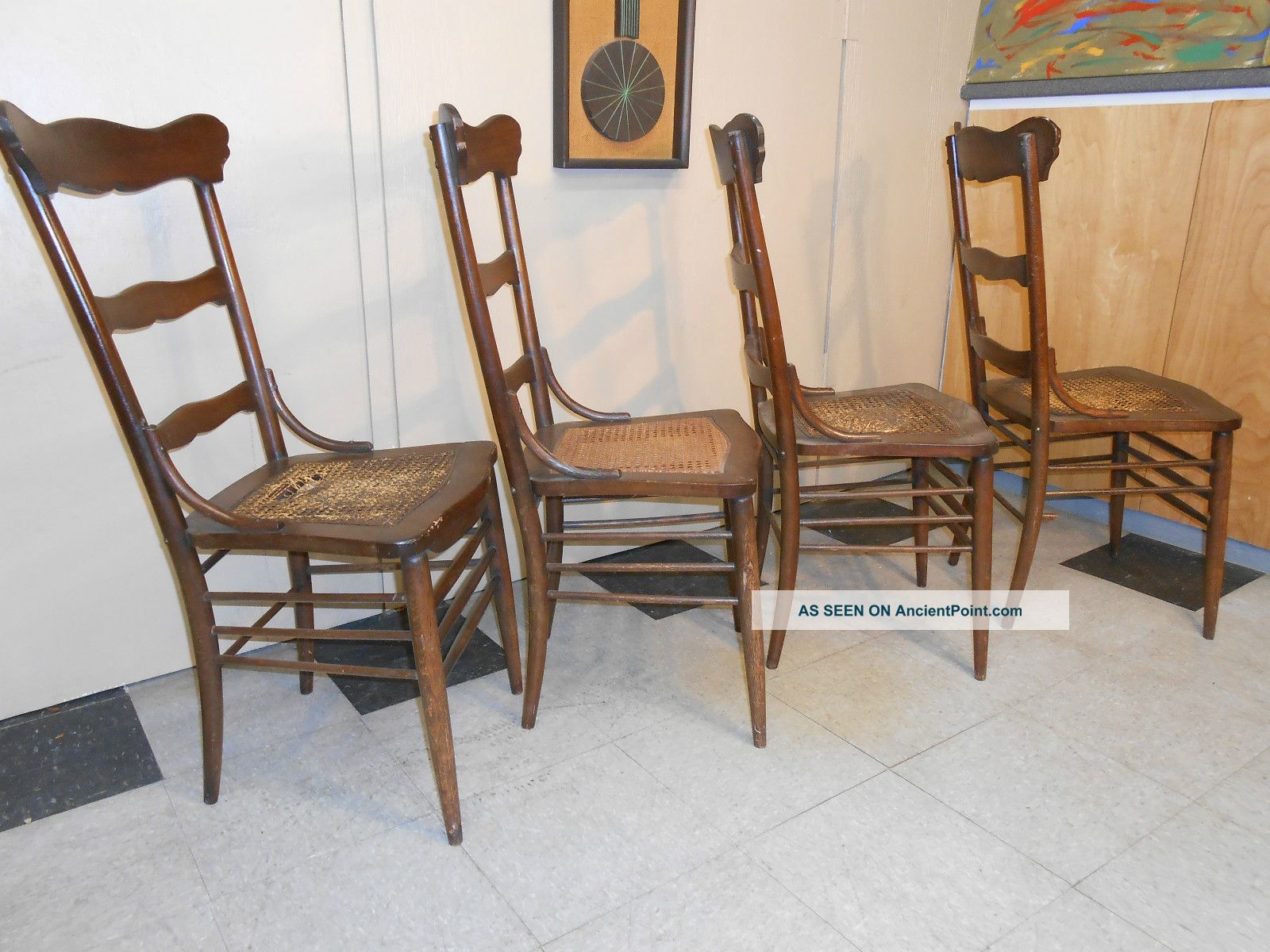Set Of Four Oak Ladderback Cane Seat Diner Chairs Post 1950 Photo 4. Full resolution  image, nominally Width 1600 Height 1200 pixels, image with #91653A.