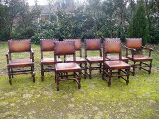 French Chairs Leather Set Of 2 Arm Chairs 6 Side Chairs photo