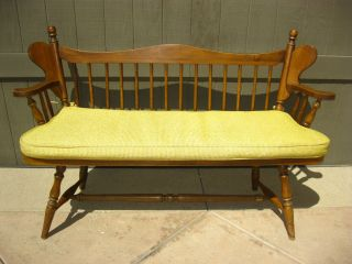 (2of2) Vintage Bench W Spindles Stool Solid Maple French Country Cottage Chair photo