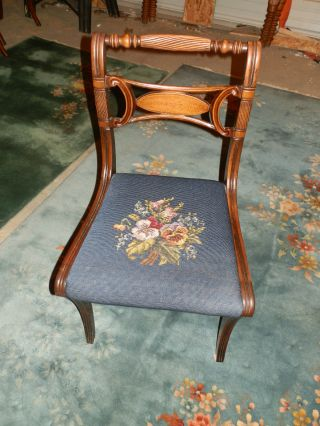 Amazing Antique Victorian Carved Needlepoint Chair photo