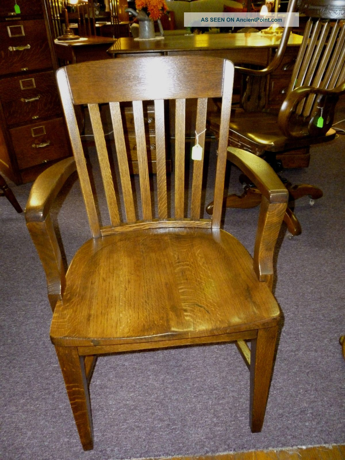 antique oak chair office armchair industrial refinished made in usa