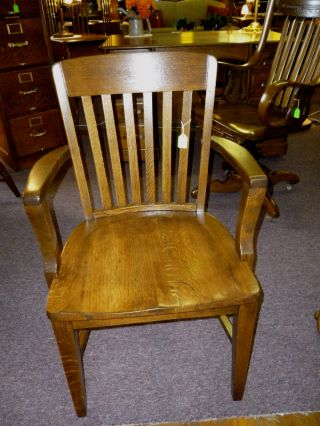 Antique Oak Chair Office,  Armchair,  Industrial,  Refinished Made In Usa photo