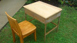 Vintage School Desk W/maple Chair W/under Surface Storage Vguc photo