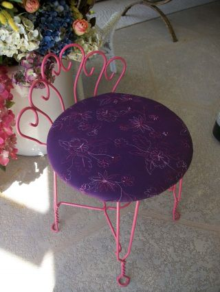 Antique Vintage Wrought Iron Make - Up Vanity Stool Chair Purple Pink Home Decor photo