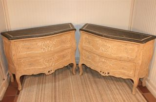 Pair Of Antique Style Louis Xv Distress Painted Bombay Commodes Bureaus Chests photo