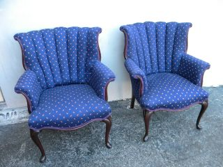 Pair Of French Mahogany Queen Anne Legs Side By Side Chairs 1886 photo