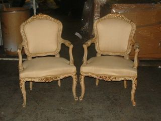 Pair Of Large Chic French Painted Louis Xv Chairs photo