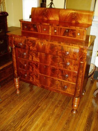 1860 ' S Empire Flame Mahogany 6 Drawer Chest W/columns photo