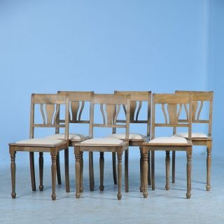 Set Of Six Antique/vintage Danish Chairs C1910 With New Linen Seats photo