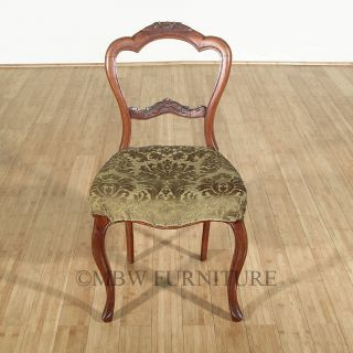 Antique English Solid Walnut Victorian Green Seat Side Chair C1850 P43a photo