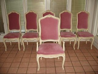 Vintage French Gustavian Louis Xv Style Hollywood Regency Dining Room Chair Set photo