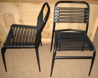 2 Herbst Style Black Metal Bungy Cord Dining Side Chairs Mid Century Post Modern photo