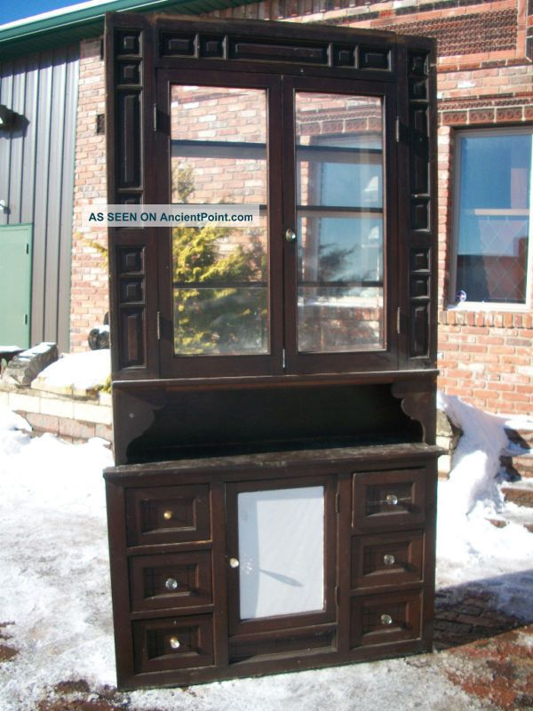 Solid Walnut Built - In Cupboard Hutch W/ Beveled Glass = 1900-1950 photo