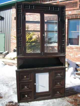 Solid Walnut Built - In Cupboard Hutch W/ Beveled Glass = photo