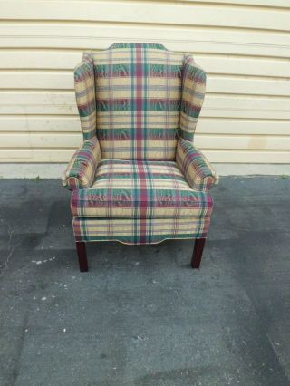 50593 Plaid Upholstered Lane Furniture Wing Chair photo