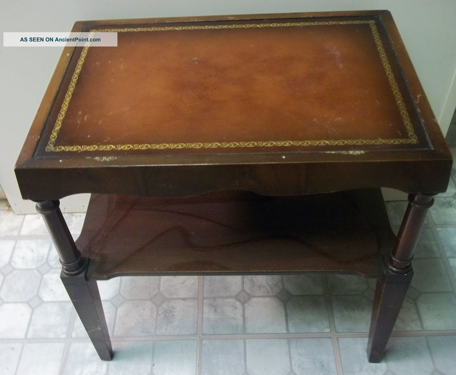 Living Room Antique Leather Top Tables