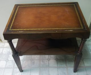 Mahogany Leather Top Living Room Side Table Doezema Fine Furniture photo