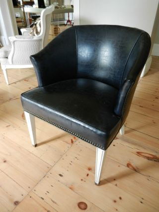 Vintage Blue Leather And Nailhead Club Chair With Painted Wood Base photo