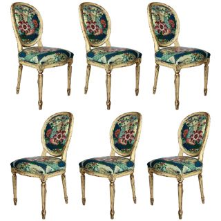 Set Of 6 French Louis Xiv Style Dining Chairs photo