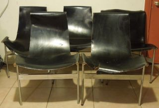 Set Of 4 1950 ' S Laverne Katavolos Leather Sling T Dining Chairs & 1 Side Chair photo