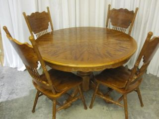 Golden Oak Dining Table W 4 Chairs Pressed Wood photo