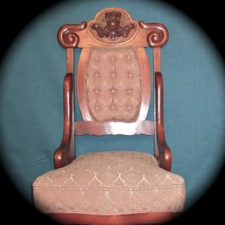 Outstanding Carved Victorian Chair W/tufted Upholstery+ Htf Average Height Seat photo