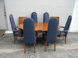 Vintage 1960 ' S Carved Dining Table With 6 High - Back Chairs & 2 Leaves 2534 photo